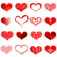 Vector collection of red heart shapes isolated on white