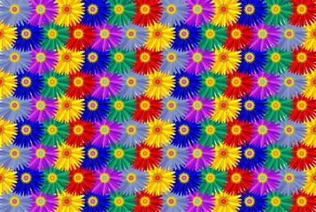 Fleurs Multicolores (Thème Fond Couleurs Image Dessin Vecteur)