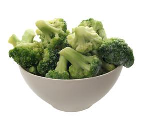 bowl with cauliflower on white background