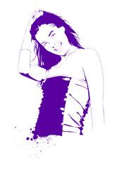Fotobehang Bloemen vrouw beautiful young girl, vector illustration