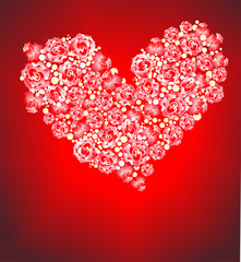 Heart from roses on a red background