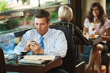 Businessman using mobile in cafe