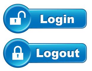 LOGIN & LOGOUT Web Buttons (User Session Lock Padlock Security)