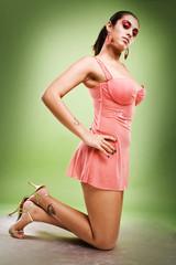 sexy asian glamour model wearing pink dress
