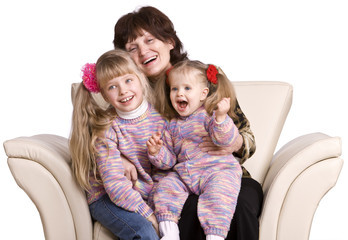 Happy grandmother and two children.