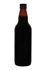 Isolated Brown beer bottle with cap and no labels