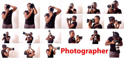belle jeune femme noire épanouie prends des photos