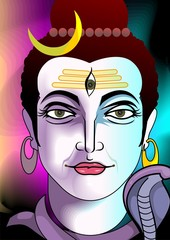 Illustration of divine shiva statue