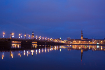 Night river with bridge