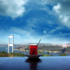 Printed kitchen splashbacks Turkey close up shot of a tea glass on the table