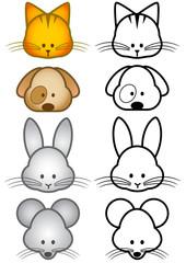 Vector illustration set of different pet animals.