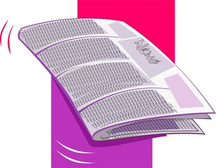 Illustration of bundle of papers with colour background