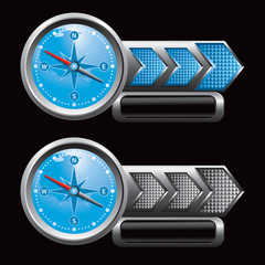 blue compass blue and gray arrow nameplate banners