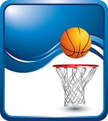 basketball hoop blue wave backdrop