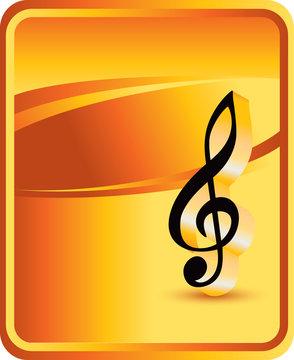 music notes orange background