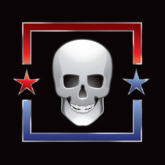 skull red and blue star frame