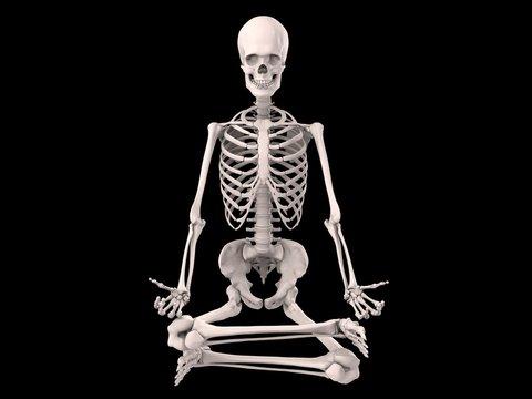 Skelett im Lotussitz