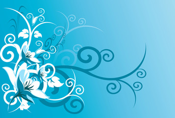 Floral design on  blue  background