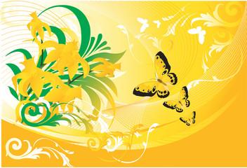 Butterflies flaying towards yellow flowers