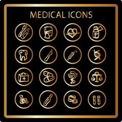 Gold Medicine and Health vector icons, relegant Medical design e