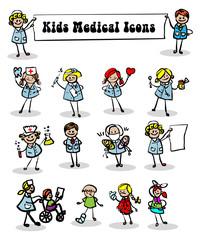 medical icons set,kids cartoon kids & medical staff, medical equ