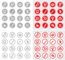 Medicine and Health vector icons, Medical illustration