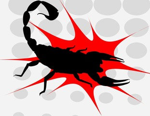 Illustration of Black Scorpion on red surface