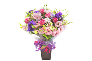 colourful bouquet vase on white background