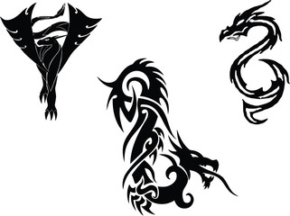 Dragon tattoo types in black and white