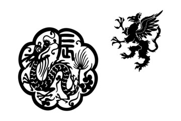 Chinese dragon and griffon in black and white