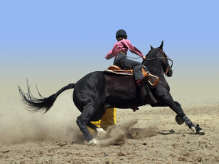 Cowgirl Rounding a Drum in the Barrel Race