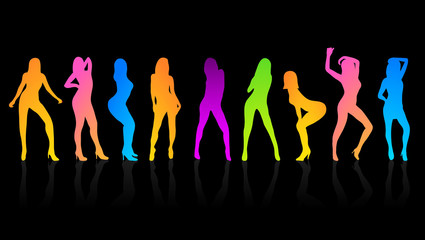 Party Girls People Happy Dance Colorful