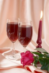 wine, rose and love