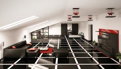 Dachboden Innenaufnahme 3d render