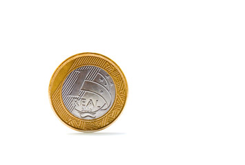 Single one Brazilian real coin isolated on white background