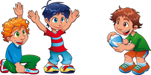 Three kids are playing. Funny cartoon and vector characters.