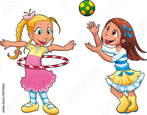 two girls are playing funny cartoon and vector characters