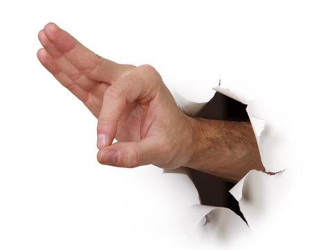 Handzeichen ok durch Papierwand