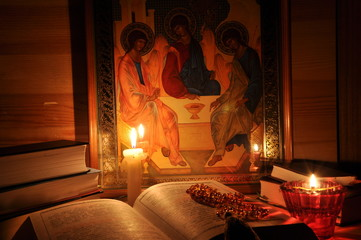 Russian Icon Holy Trinity, books and flame