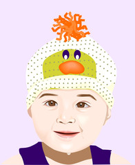 A baby is wearing a beautiful hat.
