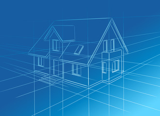 Obraz drawing at home on blue background - fototapety do salonu