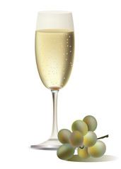A vector glass of champagne and grape