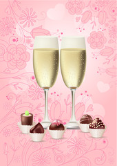 Two glasses with sweets