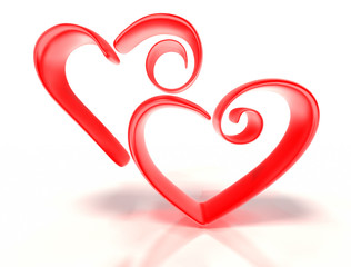 Two stylized hearts next to each other.