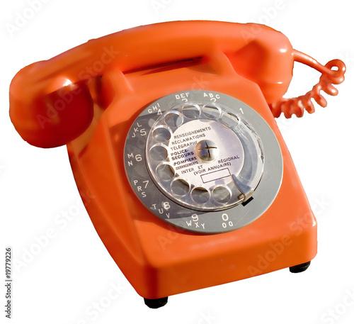 ancien t l phone cadran orange des ann es 80 photo libre de droits sur la banque d 39 images. Black Bedroom Furniture Sets. Home Design Ideas