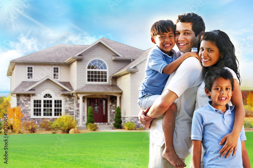 """""""Happy family portrait in front of house"""" Stock photo and ... Happy Asian Family In Front Of House"""