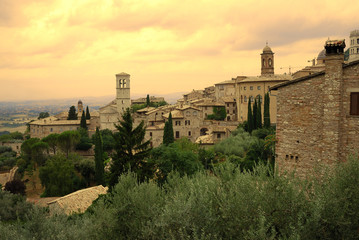 Assisi (Italy) at sunset