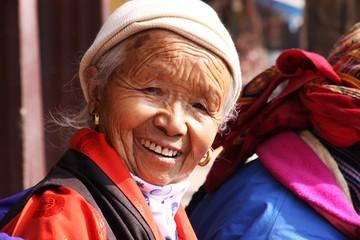 portrait de mamie tibétaine