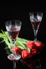 tulips and glass of wine