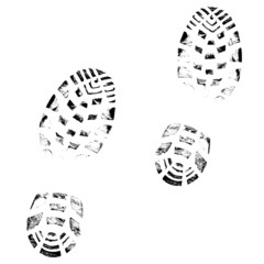 Boot print vector on white background